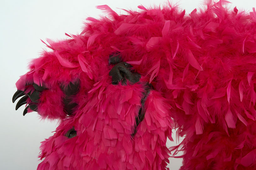 paola-pivis-colorfully-feathered-bears-inhabit-galerie-perrotin-designboom_12