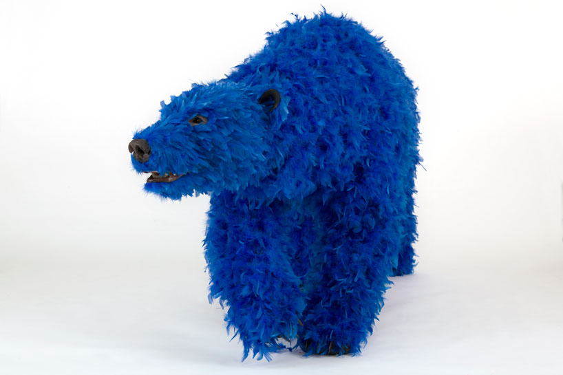 paola-pivis-colorfully-feathered-bears-inhabit-galerie-perrotin-designboom_15