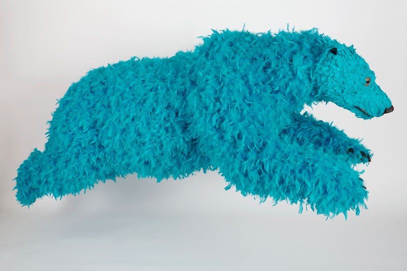 paola-pivis-colorfully-feathered-bears-inhabit-galerie-perrotin-designboom_16