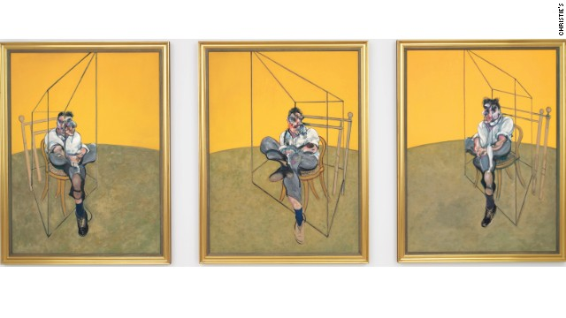 A painting by famed British artist Francis Bacon sold for $142,405,000 on Tuesday, breaking the record as the most expensive piece of art ever auctioned, according to a statement from the auction house.  	The artwork---titled Three Studies of Lucian Freud--- was sold after 6 minutes of bidding in the room and on the phone at the auction house, Christie???s, in New York City, according to Elizabeth Van Bergen, spokeswoman for Christie???s.   	 	Painted in 1969, it is known as one of Bacon???s most iconic, as it features Lucian Freud at the apex of his relationship with Bacon, according to the auction house???s statement.  	The 3 panel piece of art, known as a triptych, features Freud sitting on a wooden chair in varied positions, the statement said.  	The previous record for a work of art sold at an auction was Edward Munch???s The Scream, painted in 1895, for over $119 million dollars in 2012 at Sotheby???s New York, according to the statement. 	Bacon???s previous record for his work was over $86 million for another triptych painted in 1976 and sold in 2008 at Sotheby???s New York, according to the statement.