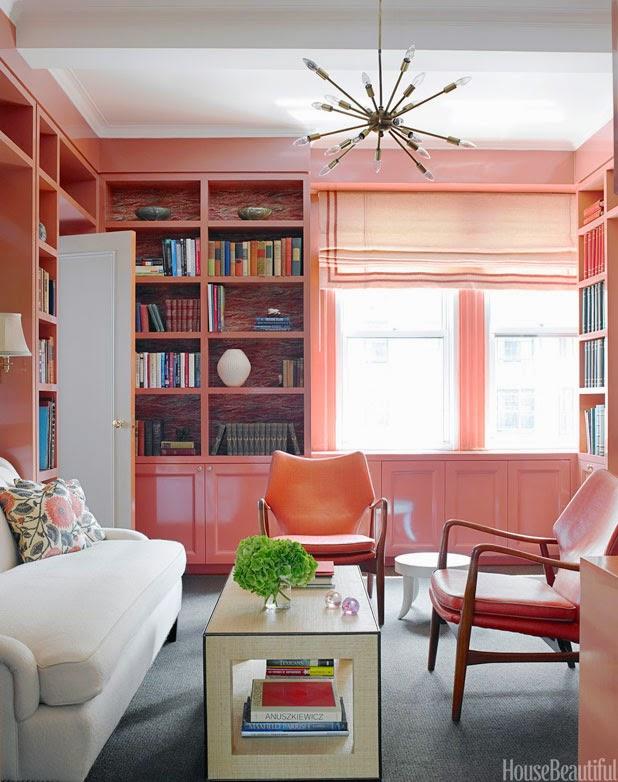 pink-lacquer-bookcase-walls-sputnik-chandelier